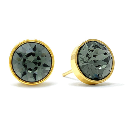 Harley Stud Earrings with Black Diamond Round Crystals from Swarovski Gold Plated - Ed Heart