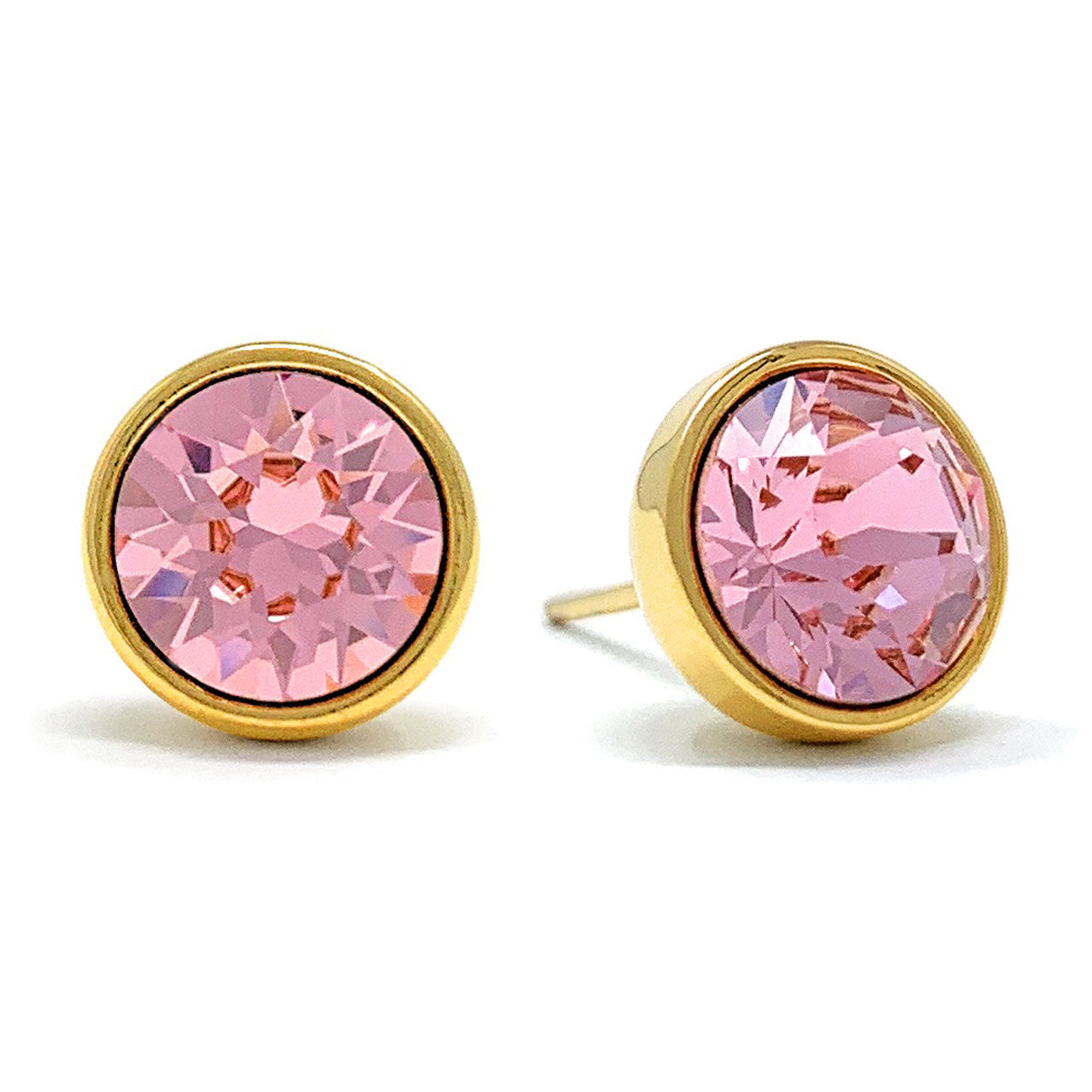 Harley Stud Earrings with Pink Light Rose Round Crystals from Swarovski Gold Plated - Ed Heart