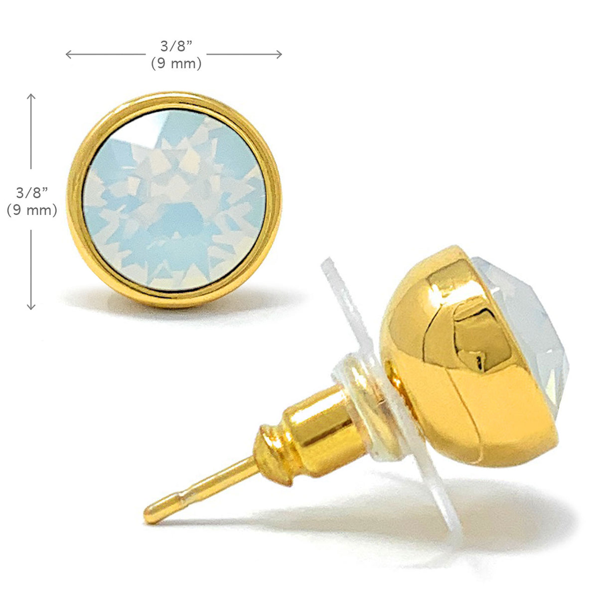 Harley Stud Earrings with Ivory White Round Opals from Swarovski Gold Plated - Ed Heart