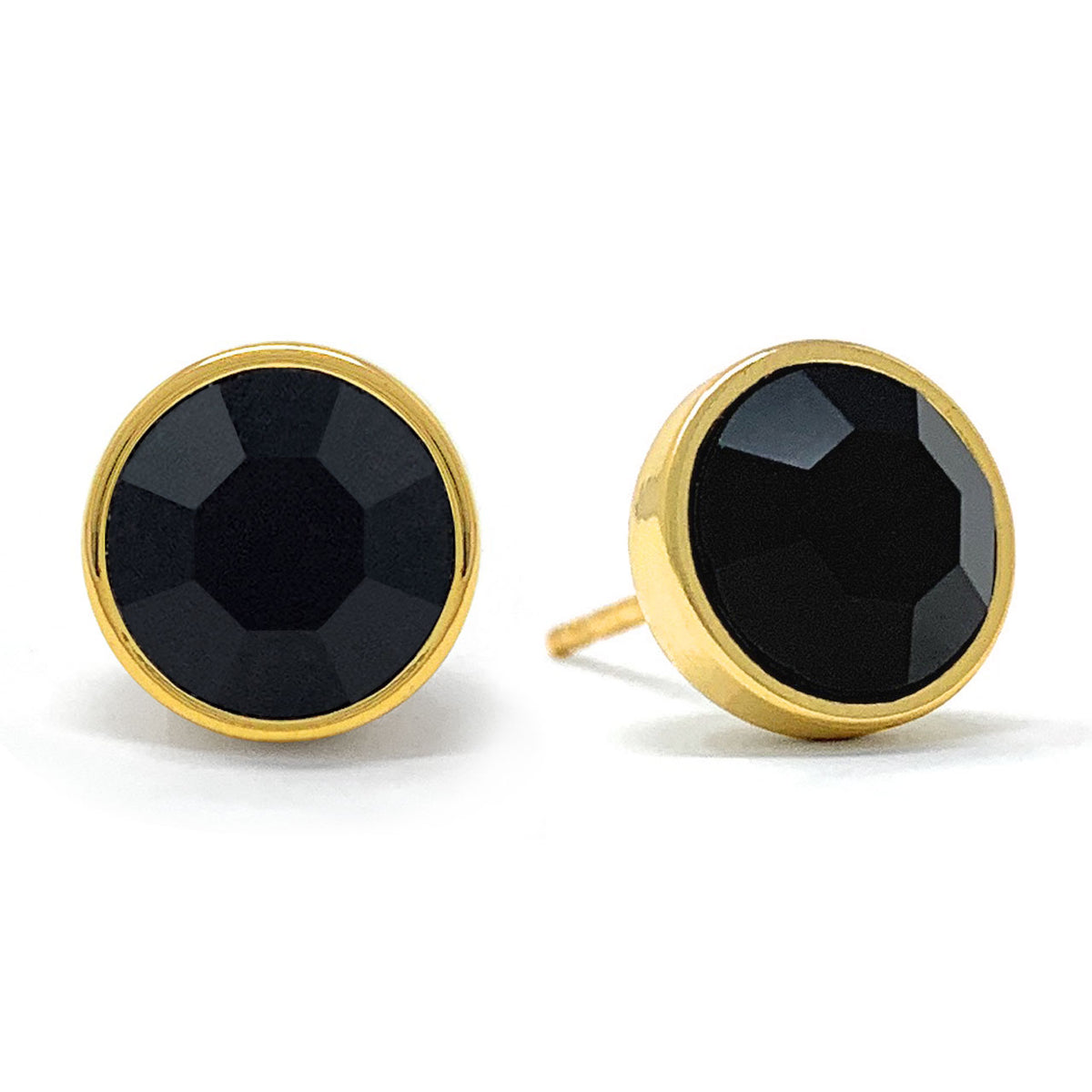 Harley Stud Earrings with Black Jet Round Crystals from Swarovski Gold Plated - Ed Heart