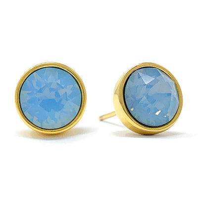 Harley Stud Earrings with Air Blue Round Opals from Swarovski Gold Plated - Ed Heart