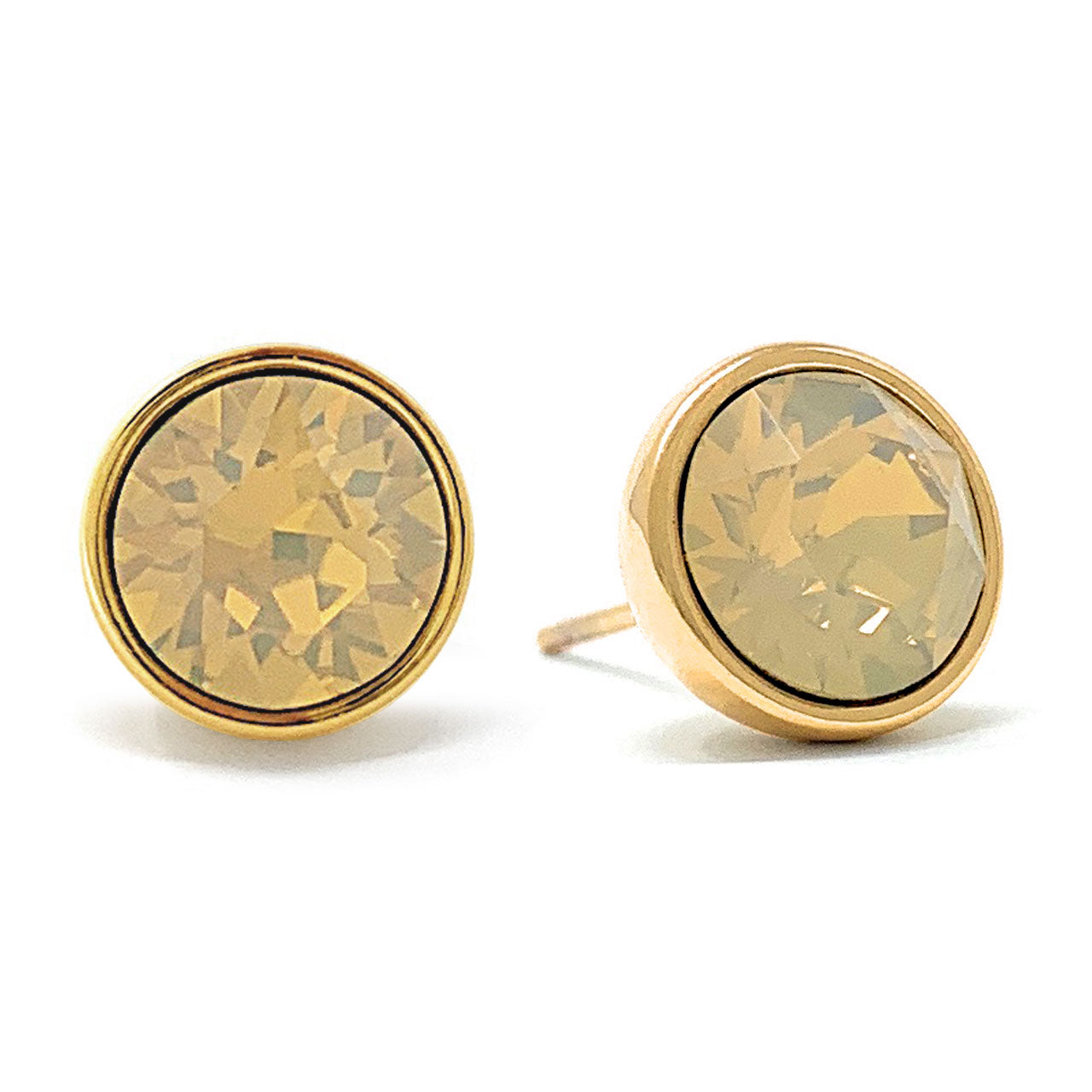 Harley Stud Earrings with Beige Sand Round Opals from Swarovski Gold Plated - Ed Heart