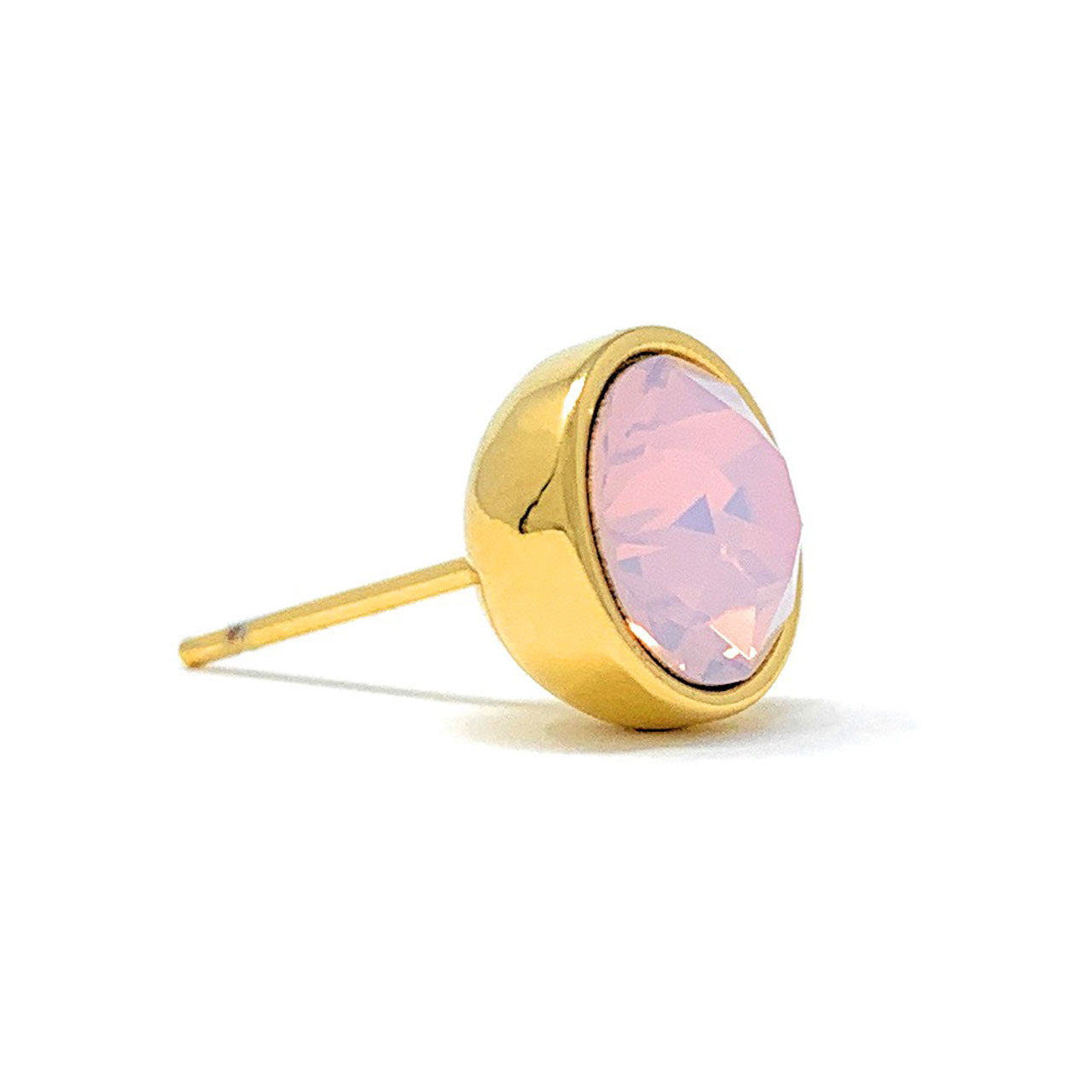Harley Stud Earrings with Pink Rose Water Round Opals from Swarovski Gold Plated - Ed Heart