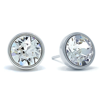 Harley Stud Earrings with White Clear Round Crystals from Swarovski Silver Toned Rhodium Plated