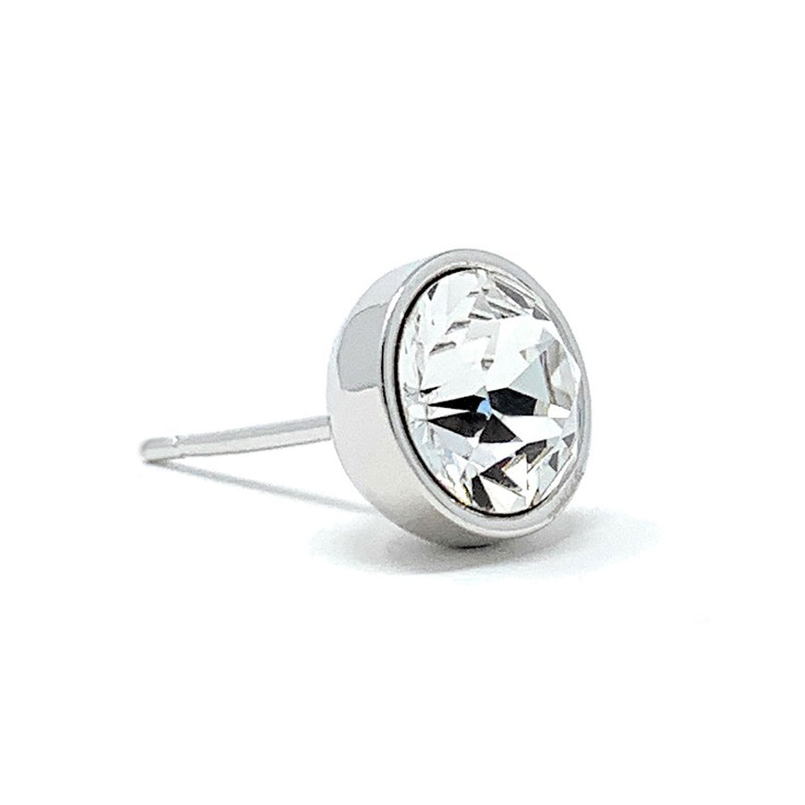 Harley Stud Earrings with White Clear Round Crystals from Swarovski Silver Toned Rhodium Plated - Ed Heart