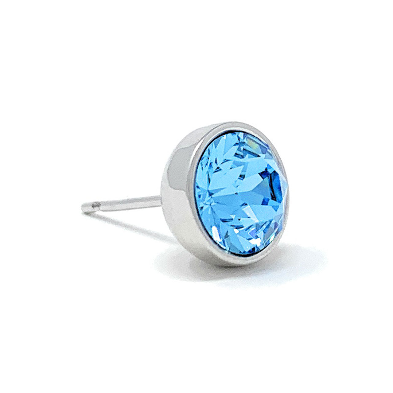 Harley Stud Earrings with Blue Aquamarine Round Crystals from Swarovski Silver Toned Rhodium Plated - Ed Heart