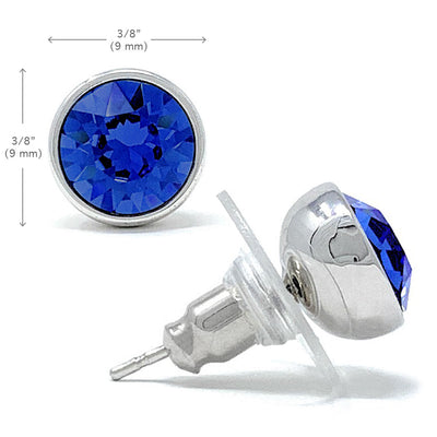 Harley Stud Earrings with Blue Sapphire Round Crystals from Swarovski Silver Toned Rhodium Plated - Ed Heart