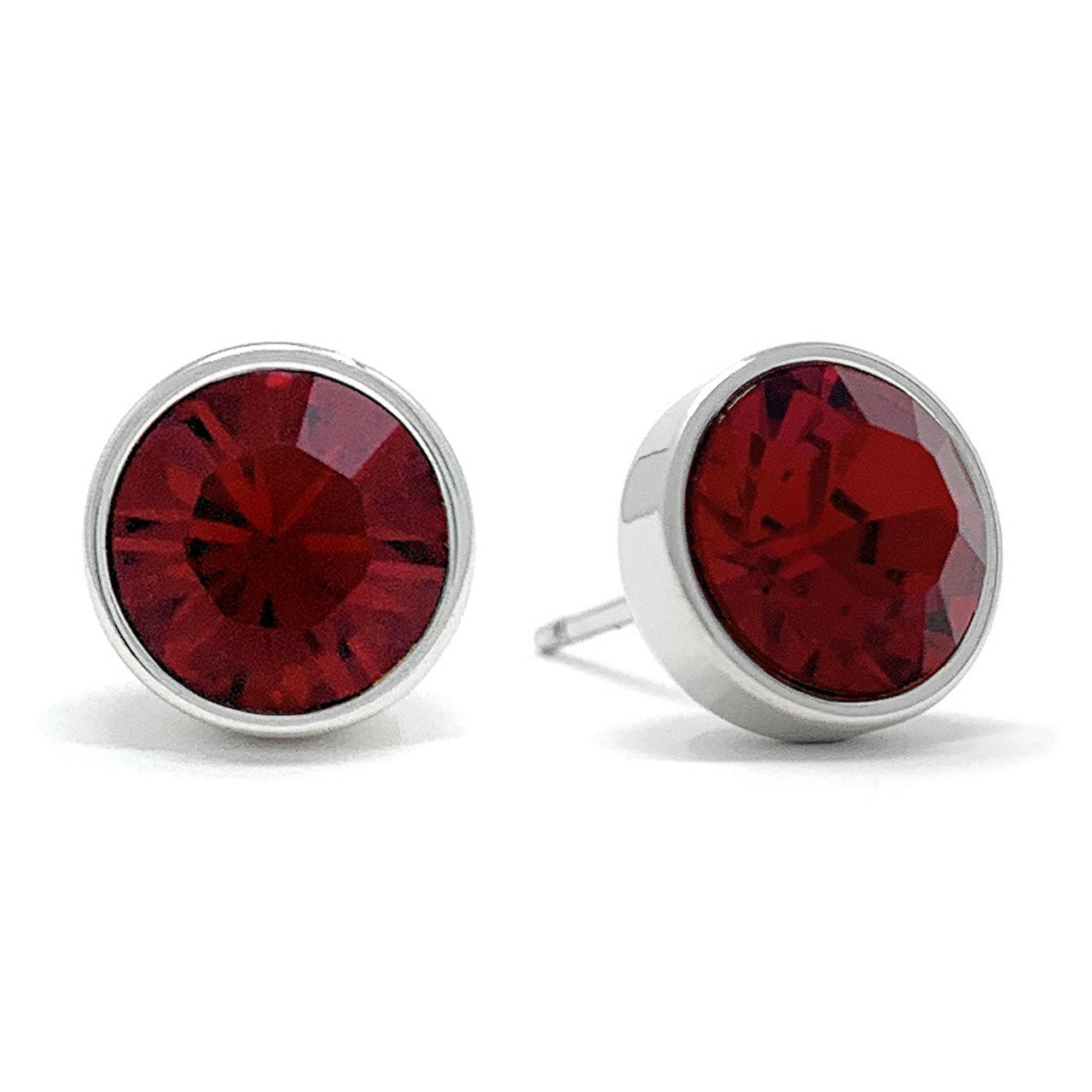 Harley Stud Earrings with Red Siam Round Crystals from Swarovski Silver Toned Rhodium Plated - Ed Heart