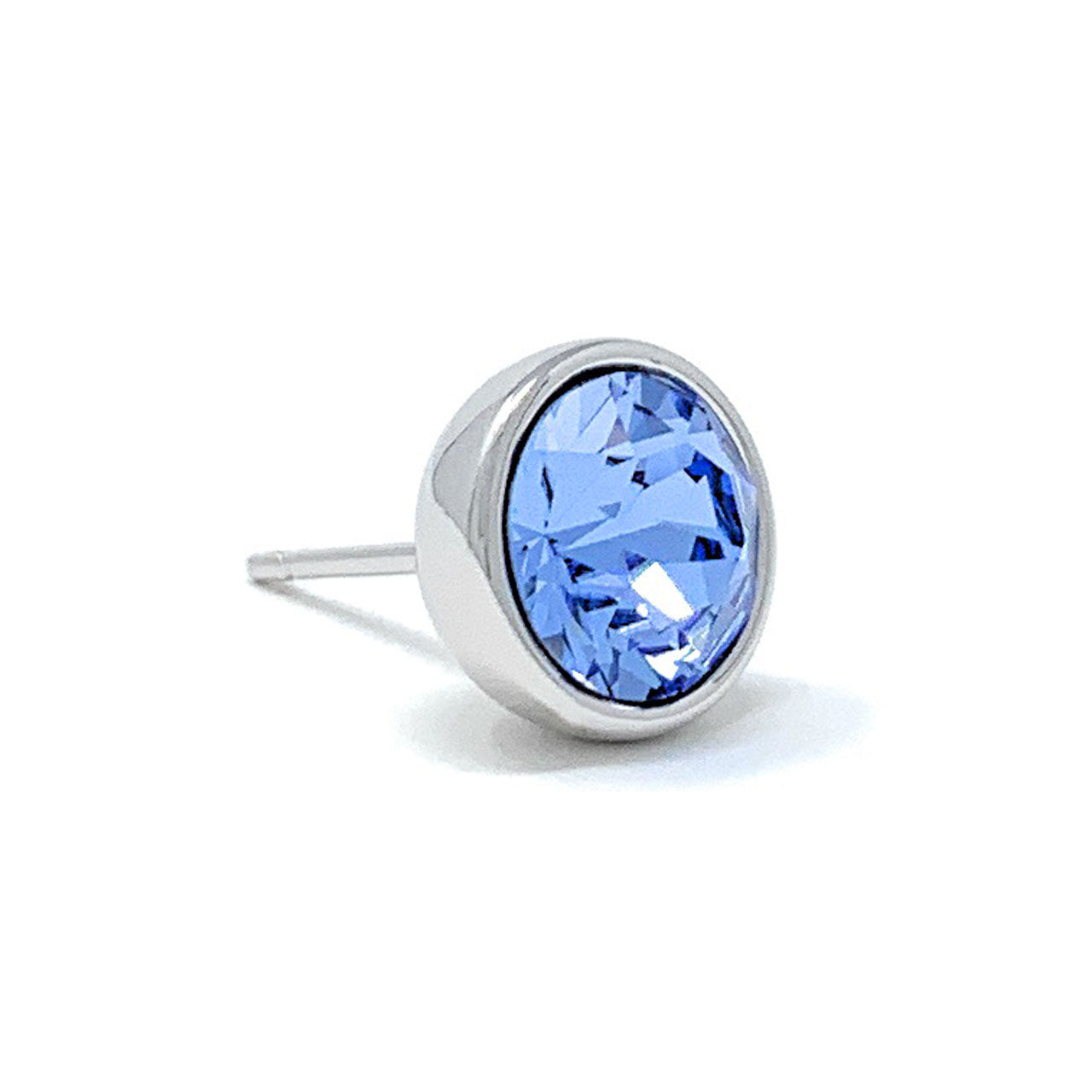 Harley Stud Earrings with Blue Light Sapphire Round Crystals from Swarovski Silver Toned Rhodium Plated - Ed Heart