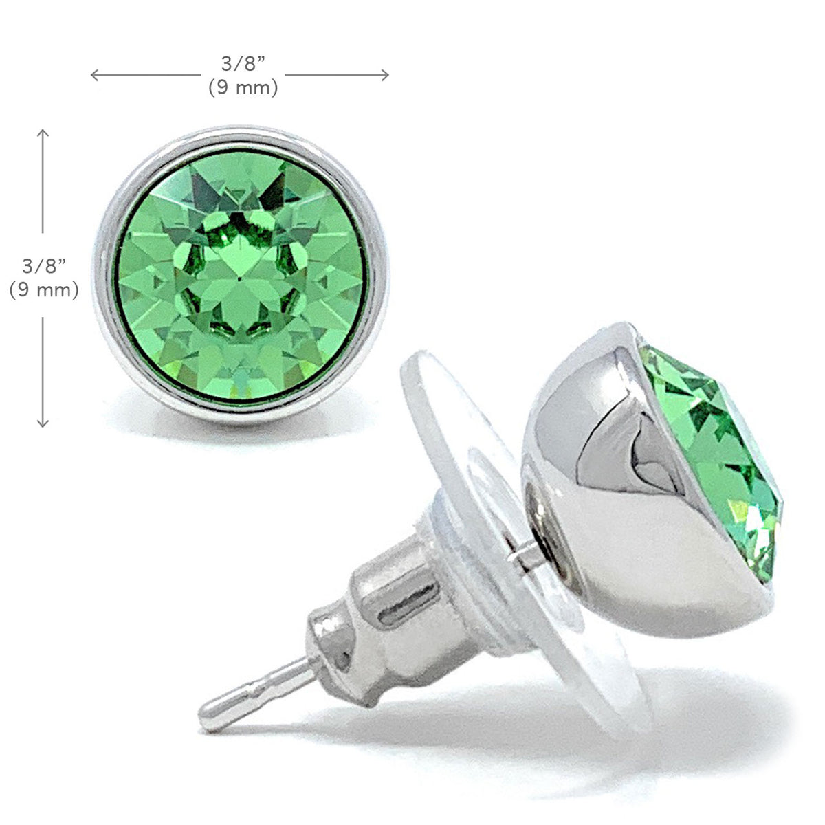 Harley Stud Earrings with Green Peridot Round Crystals from Swarovski Silver Toned Rhodium Plated - Ed Heart