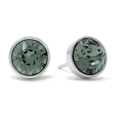 Harley Stud Earrings with Black Diamond Round Crystals from Swarovski Silver Toned Rhodium Plated - Ed Heart