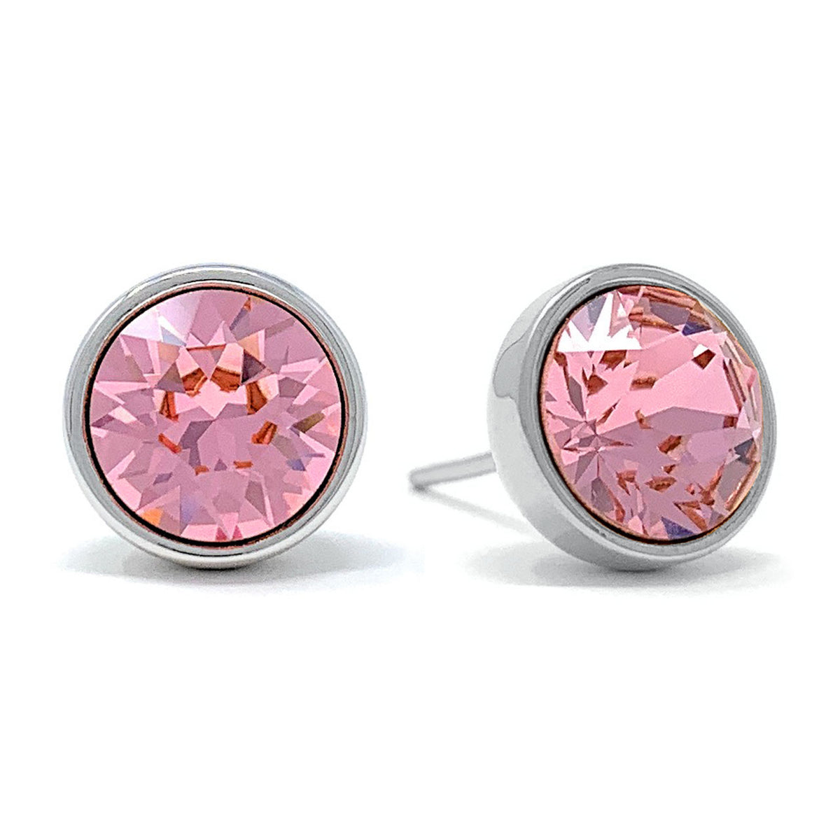 Harley Stud Earrings with Pink Light Rose Round Crystals from Swarovski Silver Toned Rhodium Plated - Ed Heart