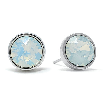 Harley Stud Earrings with Ivory White Round Opals from Swarovski Silver Toned Rhodium Plated - Ed Heart