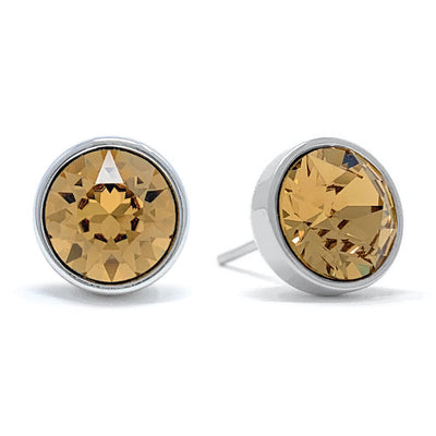 Harley Stud Earrings with Yellow Brown Light Topaz Round Crystals from Swarovski Silver Toned Rhodium Plated