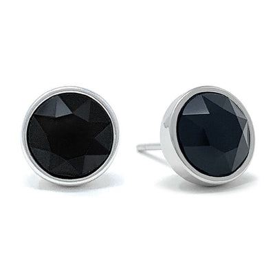 Harley Stud Earrings with Black Jet Round Crystals from Swarovski Silver Toned Rhodium Plated - Ed Heart