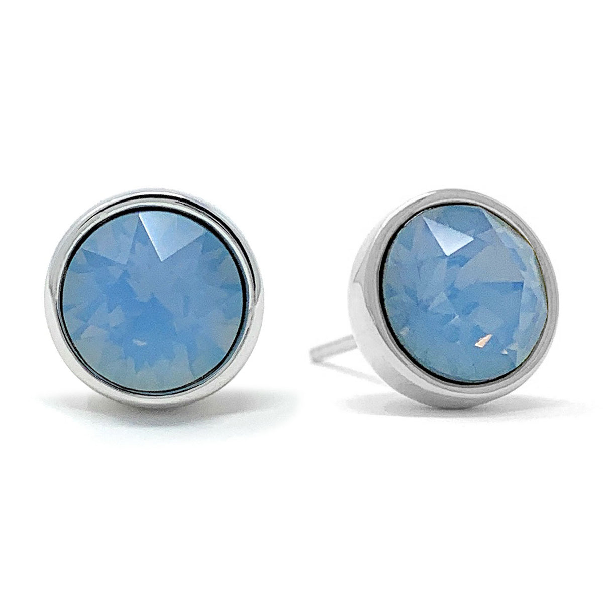 Harley Stud Earrings with Air Blue Round Opals from Swarovski Silver Toned Rhodium Plated - Ed Heart
