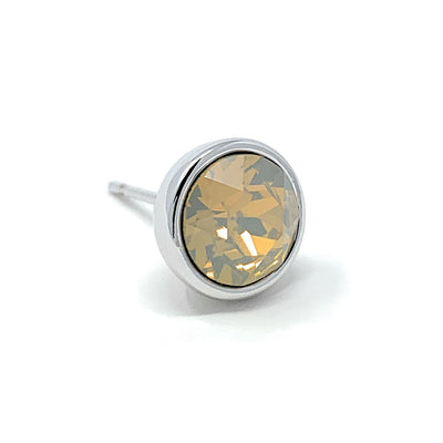 Harley Stud Earrings with Beige Sand Round Opals from Swarovski Silver Toned Rhodium Plated - Ed Heart