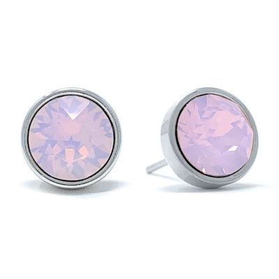 Harley Stud Earrings with Pink Rose Water Round Opals from Swarovski Silver Toned Rhodium Plated - Ed Heart