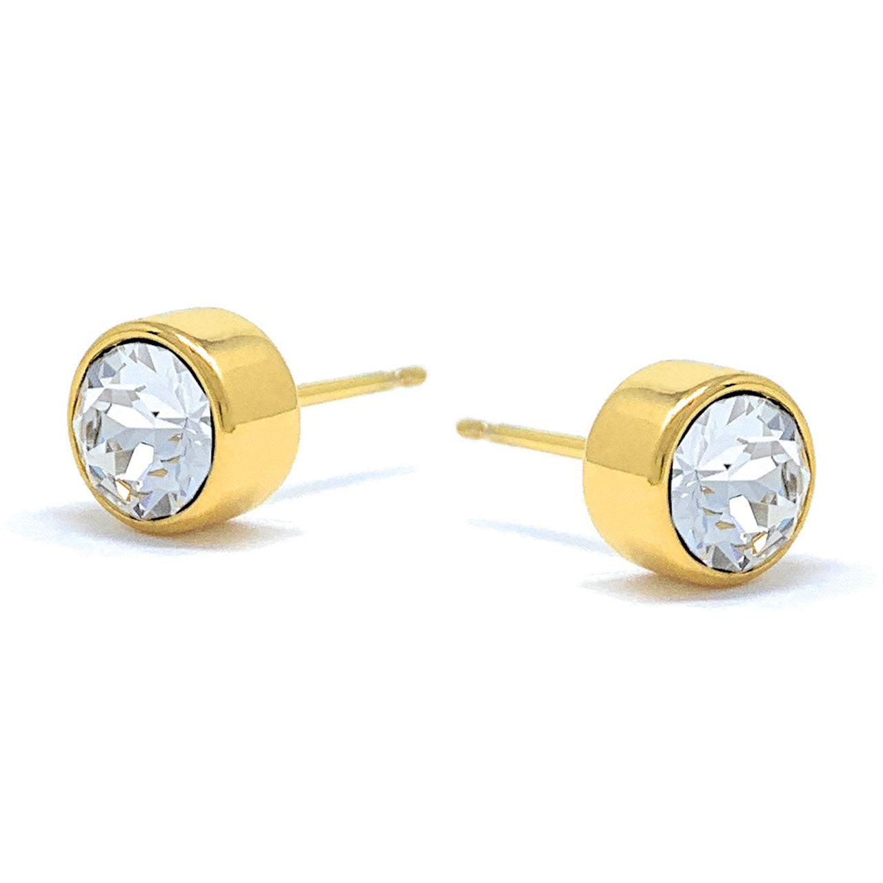 Harley Small Stud Earrings with White Clear Round Crystals from Swarovski Gold Plated - Ed Heart
