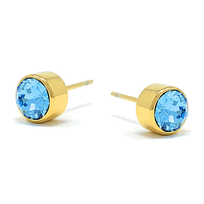 Harley Small Stud Earrings with Blue Aquamarine Round Crystals from Swarovski Gold Plated - Ed Heart