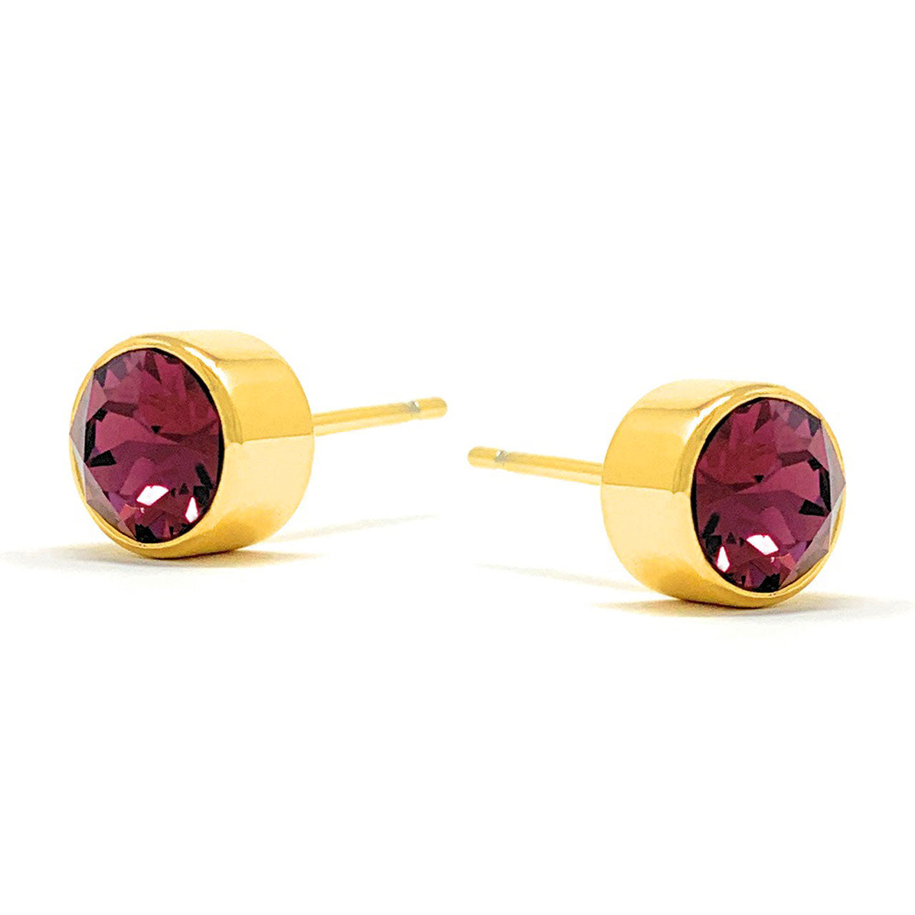 Harley Small Stud Earrings with Purple Amethyst Round Crystals from Swarovski Gold Plated - Ed Heart