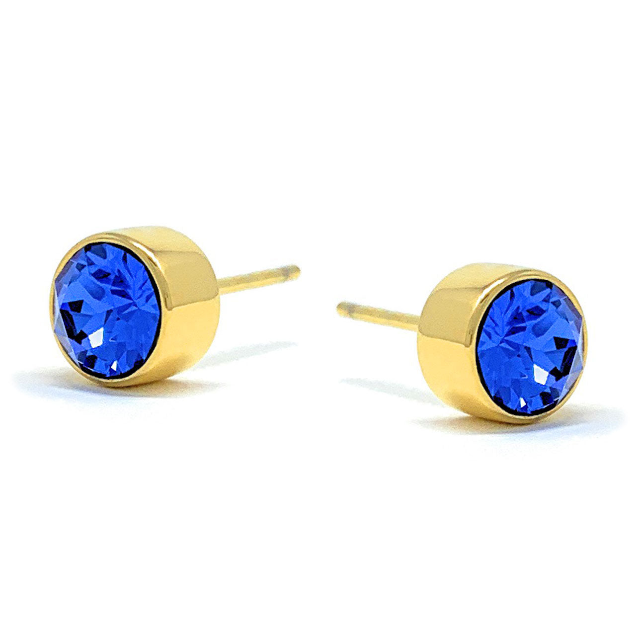Harley Small Stud Earrings with Blue Sapphire Round Crystals from Swarovski Gold Plated - Ed Heart