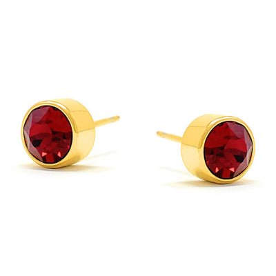 Harley Small Stud Earrings with Red Siam Round Crystals from Swarovski Gold Plated - Ed Heart