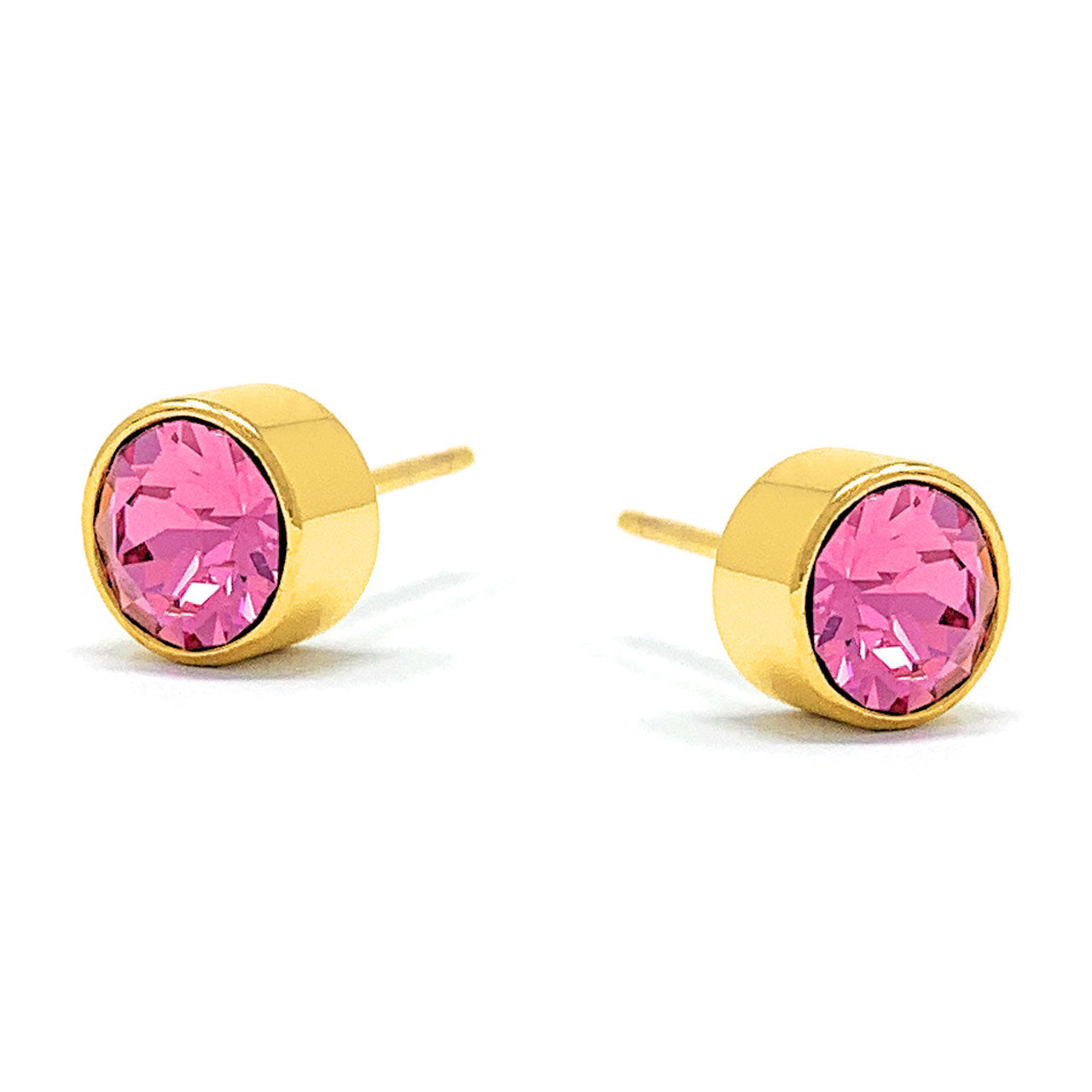 Harley Small Stud Earrings with Pink Rose Round Crystals from Swarovski Gold Plated - Ed Heart