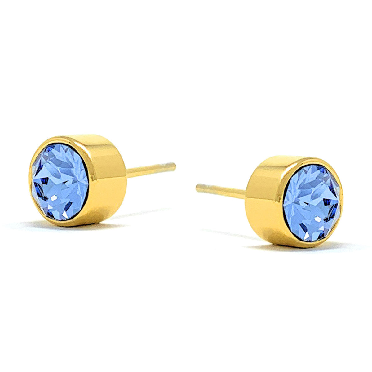 Harley Small Stud Earrings with Blue Light Sapphire Round Crystals from Swarovski Gold Plated - Ed Heart