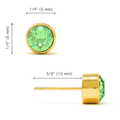 Harley Small Stud Earrings with Green Peridot Round Crystals from Swarovski Gold Plated - Ed Heart