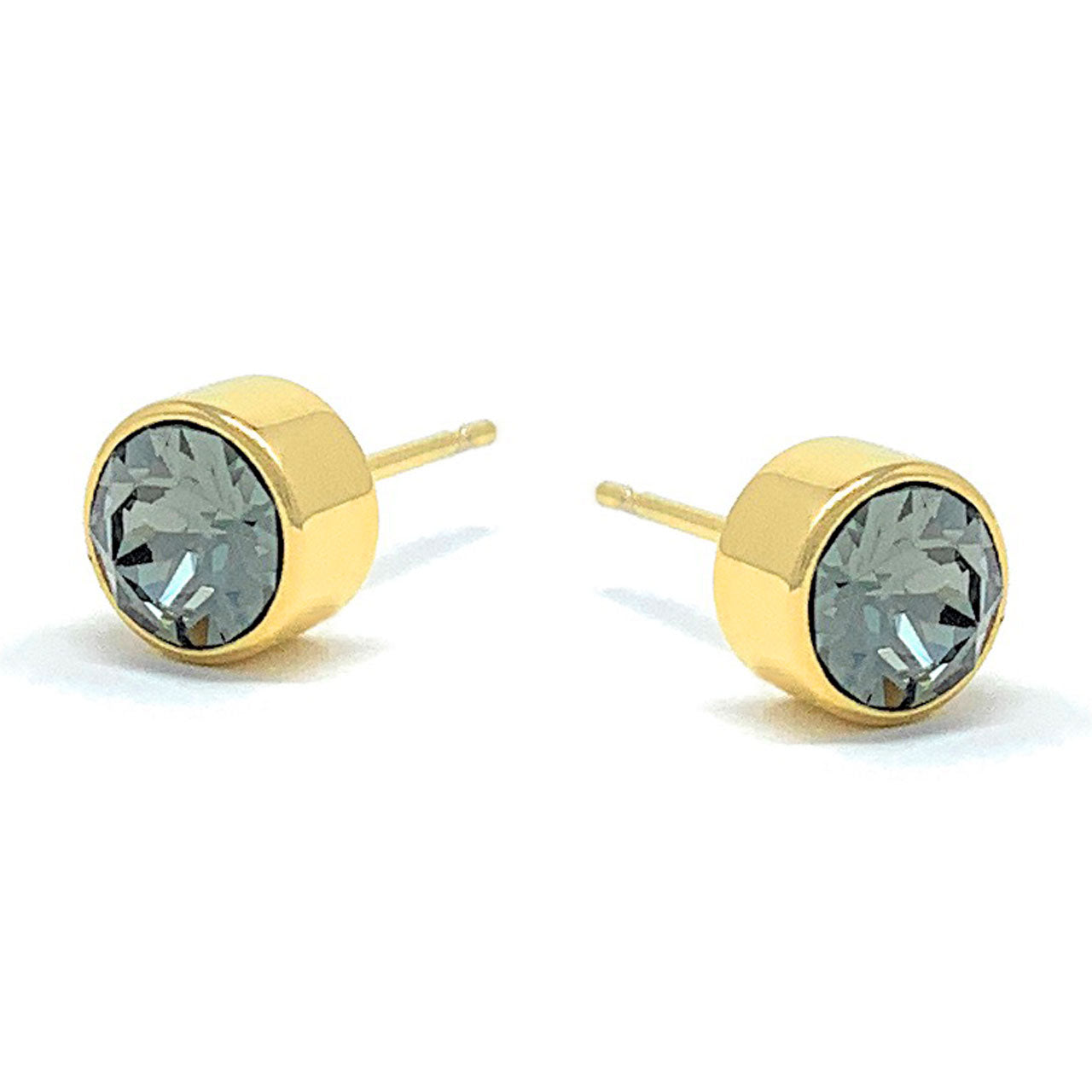 1a8932e28dbfb Harley Small Stud Earrings with Black Diamond Round Crystals from Swarovski  Gold Plated
