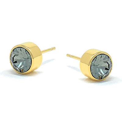 Harley Small Stud Earrings with Black Diamond Round Crystals from Swarovski Gold Plated - Ed Heart