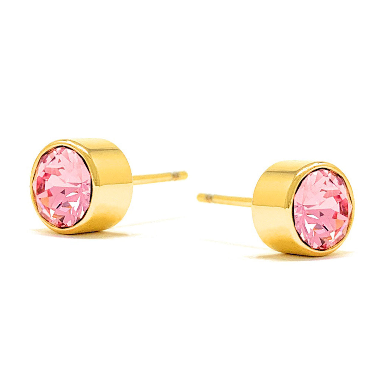 Harley Small Stud Earrings with Pink Light Rose Round Crystals from Swarovski Gold Plated - Ed Heart