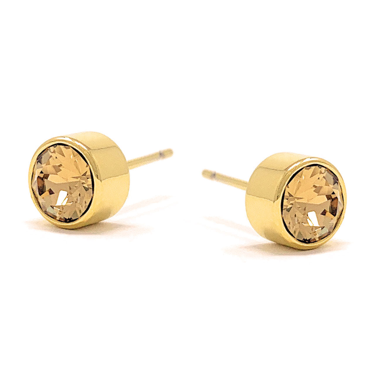Harley Small Stud Earrings with Yellow Brown Light Topaz Round Crystals from Swarovski Gold Plated - Ed Heart
