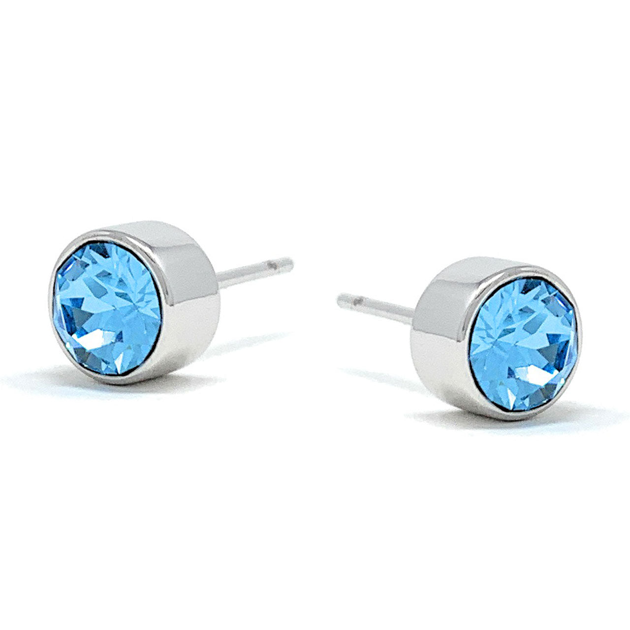 Harley Small Stud Earrings with Blue Aquamarine Round Crystals from Swarovski Silver Toned Rhodium Plated - Ed Heart