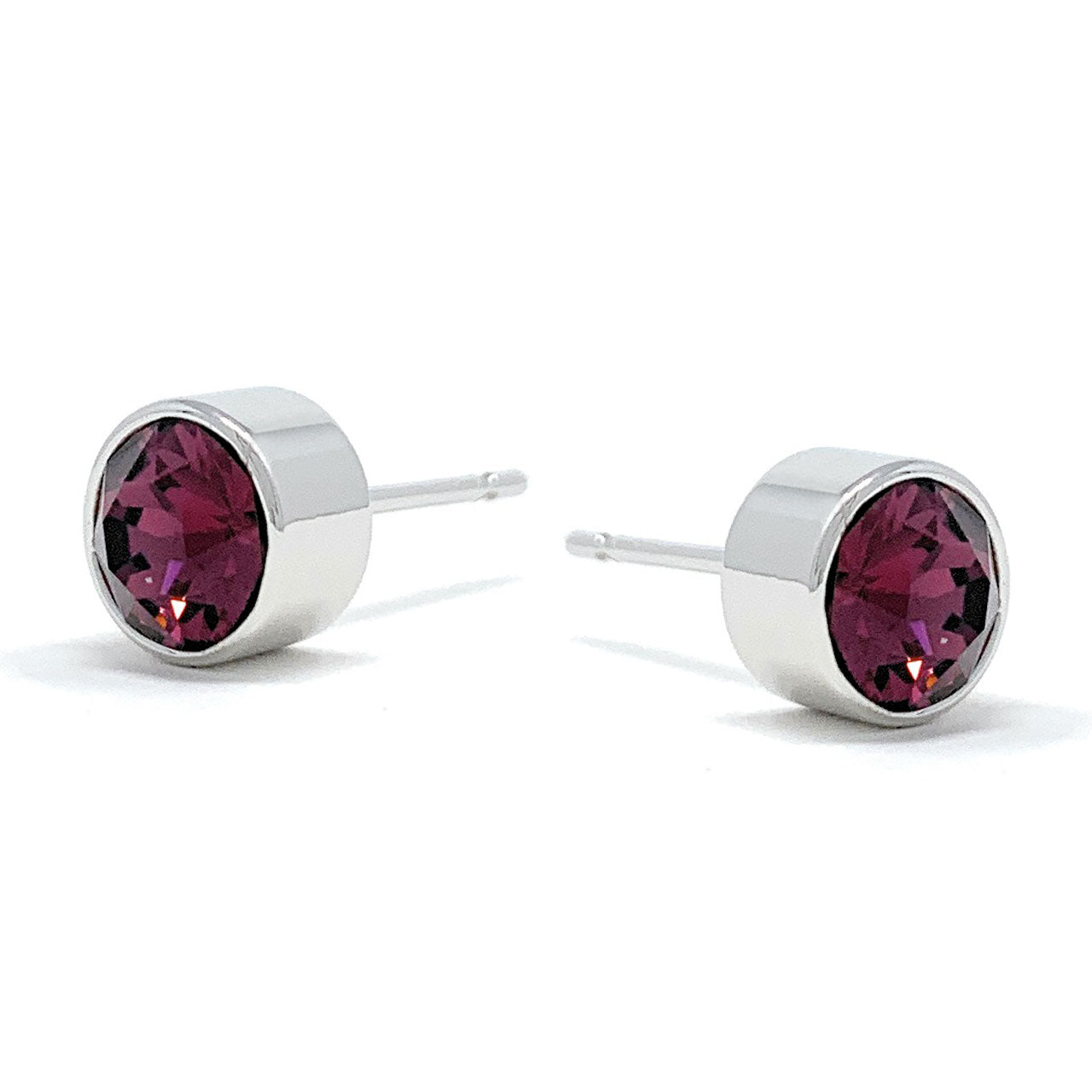 Harley Small Stud Earrings with Purple Amethyst Round Crystals from Swarovski Silver Toned Rhodium Plated - Ed Heart