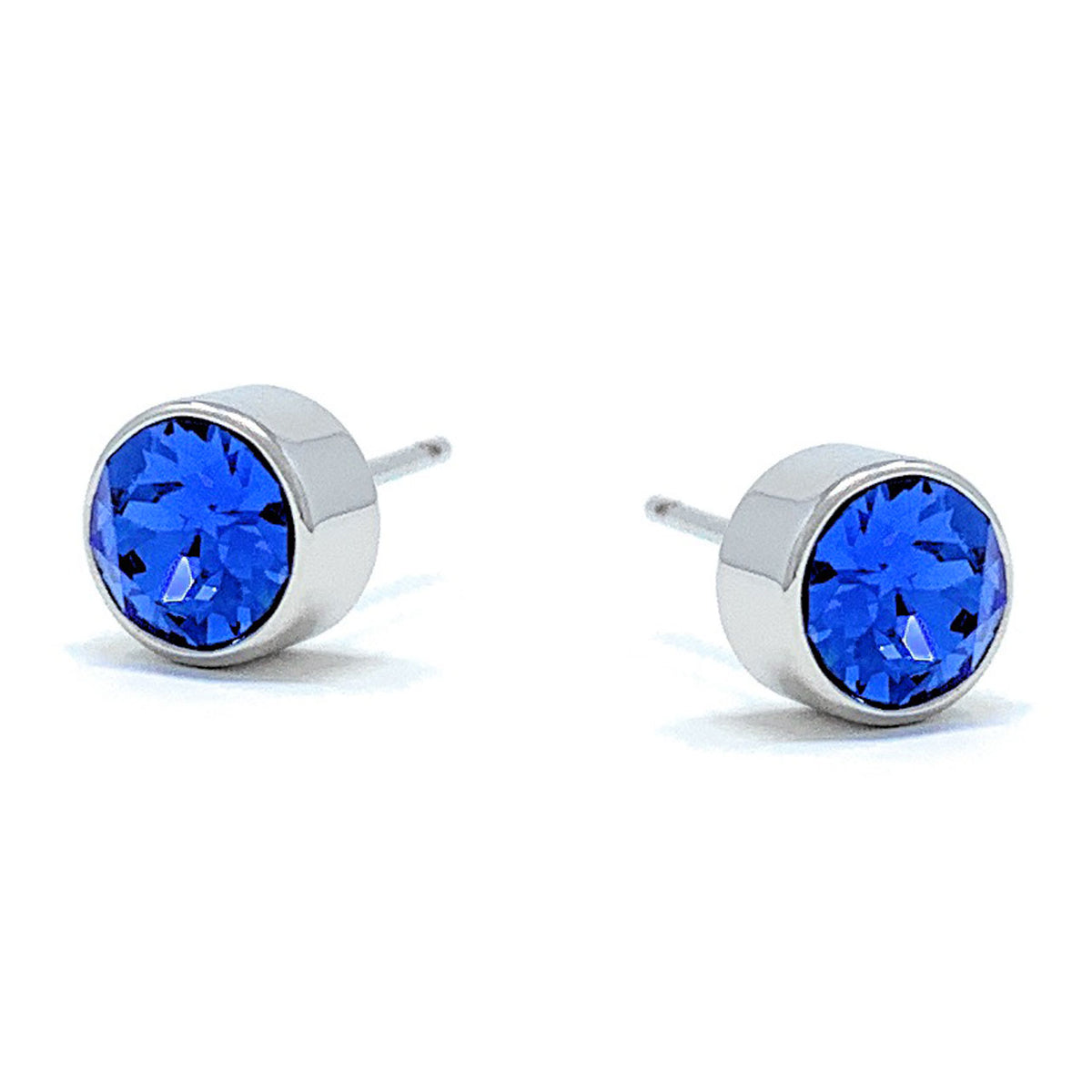 Small Stud Earrings with Blue Light Sapphire Round Crystals from Swarovski Silver Toned Rhodium Plated