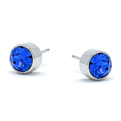Harley Small Stud Earrings with Blue Sapphire Round Crystals from Swarovski Silver Toned Rhodium Plated - Ed Heart