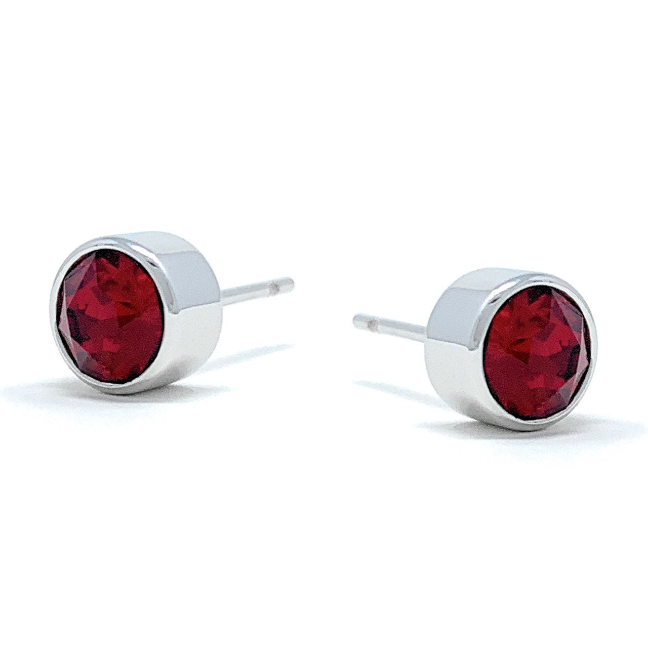 Harley Small Stud Earrings with Red Siam Round Crystals from Swarovski Silver Toned Rhodium Plated - Ed Heart