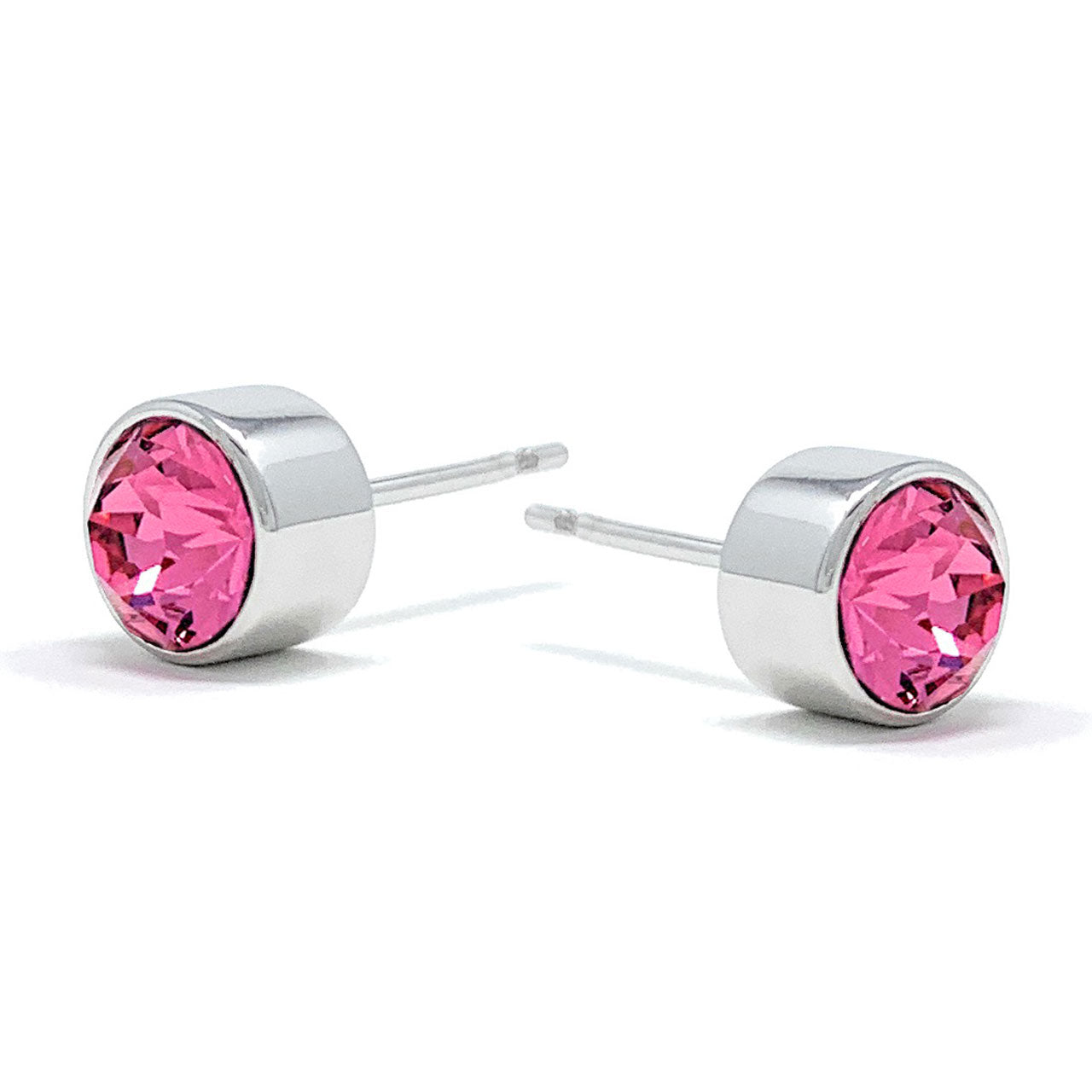 Harley Small Stud Earrings with Pink Rose Round Crystals from Swarovski Silver Toned Rhodium Plated - Ed Heart