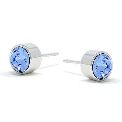 Harley Small Stud Earrings with Blue Light Sapphire Round Crystals from Swarovski Silver Toned Rhodium Plated - Ed Heart