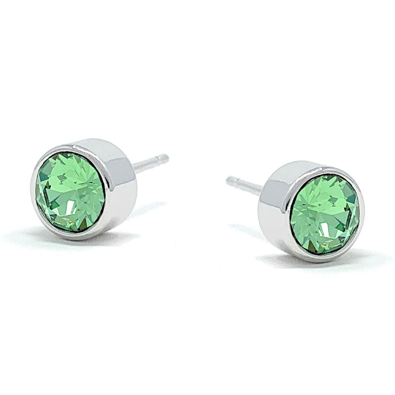 Harley Small Stud Earrings with Green Peridot Round Crystals from Swarovski Silver Toned Rhodium Plated - Ed Heart