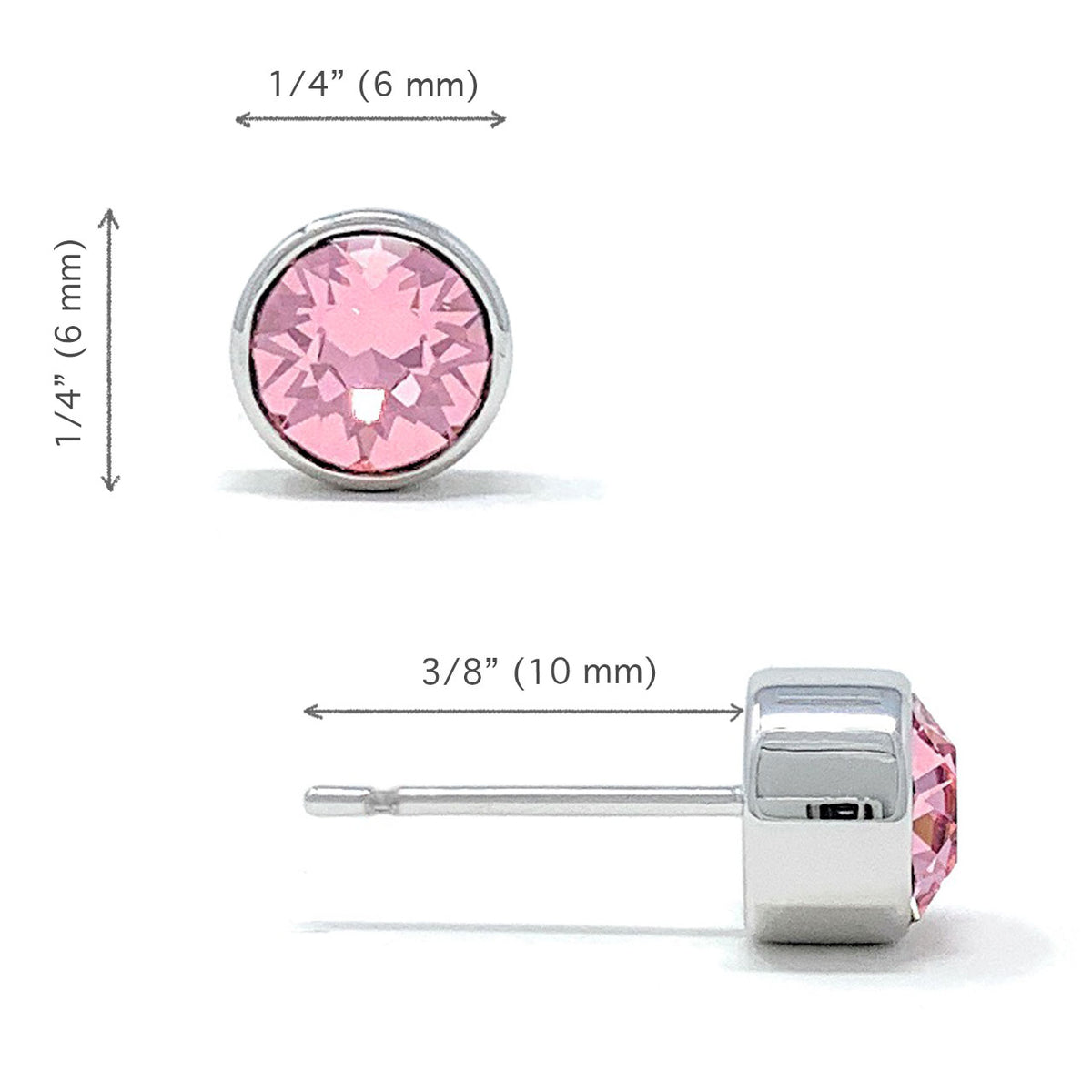 Harley Small Stud Earrings with Pink Light Rose Round Crystals from Swarovski Silver Toned Rhodium Plated - Ed Heart
