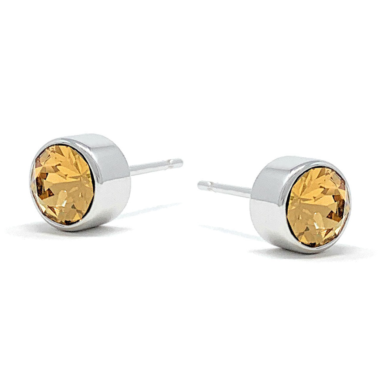 Harley Small Stud Earrings with Yellow Brown Light Topaz Round Crystals from Swarovski Silver Toned Rhodium Plated - Ed Heart