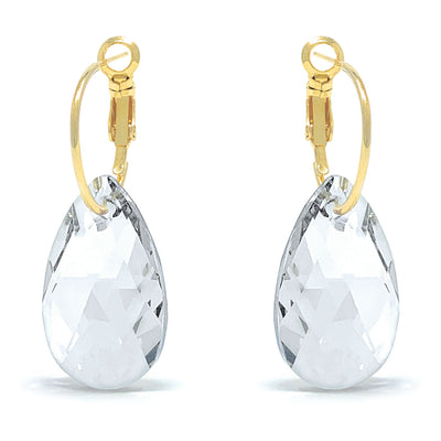 Aurora Drop Earrings with White Clear Pear Crystals from Swarovski Gold Plated - Ed Heart
