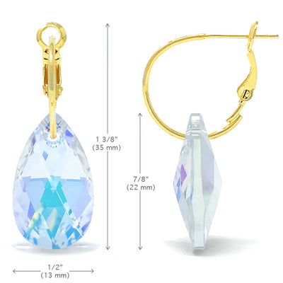 Aurora Drop Earrings with Clear Multicolor Aurore Boreale Pear Crystals from Swarovski Gold Plated - Ed Heart