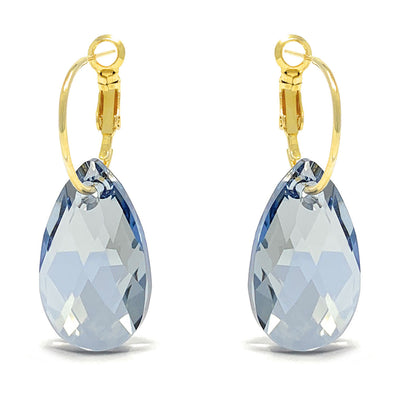 Aurora Drop Earrings with Grey Blue Shade Pear Crystals from Swarovski Gold Plated - Ed Heart