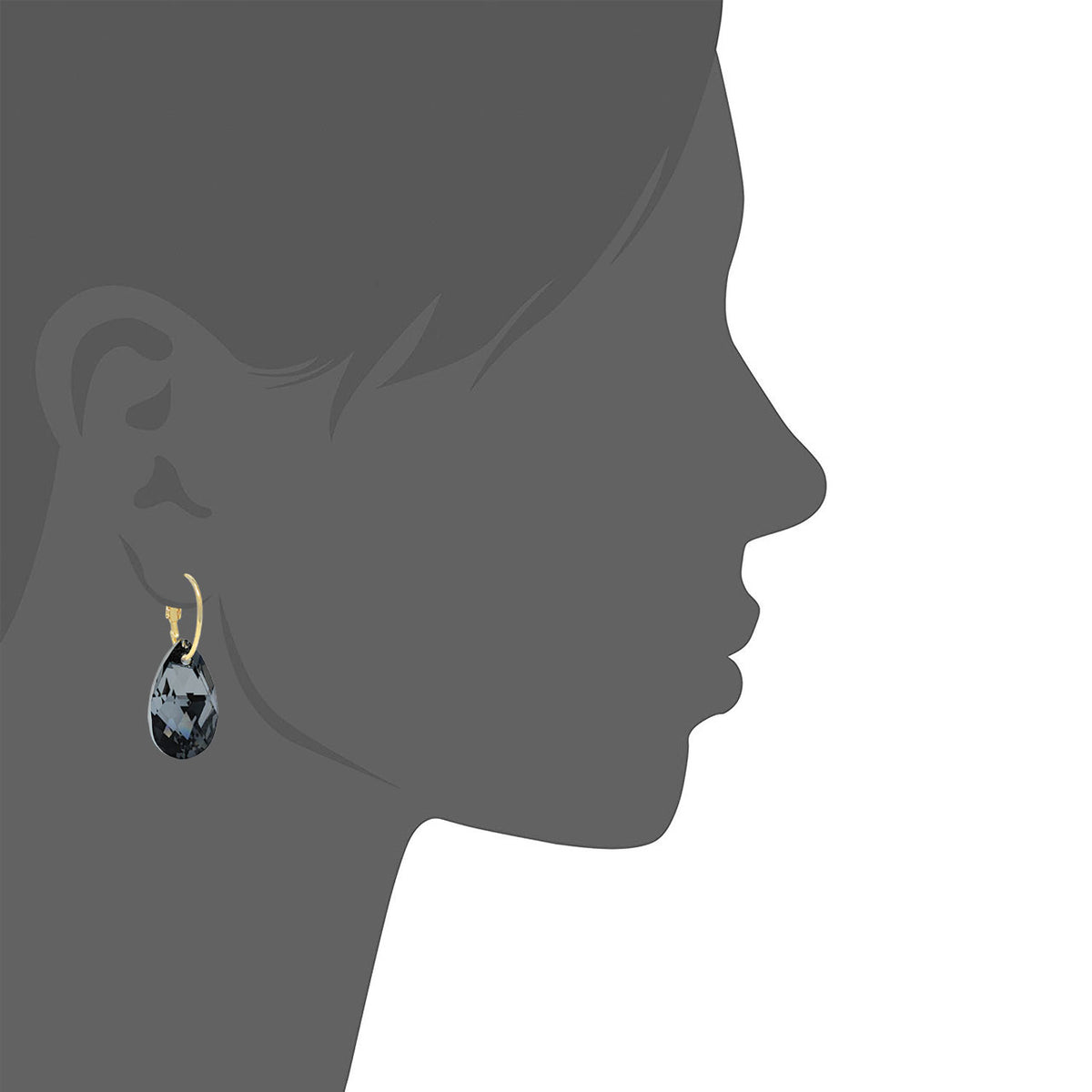 Aurora Drop Earrings with Black Grey Silver Night Pear Crystals from Swarovski Gold Plated - Ed Heart