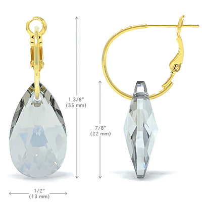 Aurora Drop Earrings with Grey Silver Shade Pear Crystals from Swarovski Gold Plated - Ed Heart