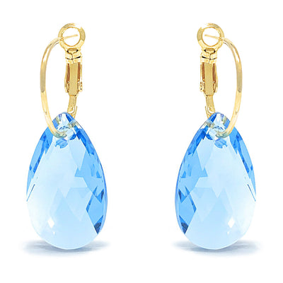 Aurora Drop Earrings with Blue Aquamarine Pear Crystals from Swarovski Gold Plated - Ed Heart